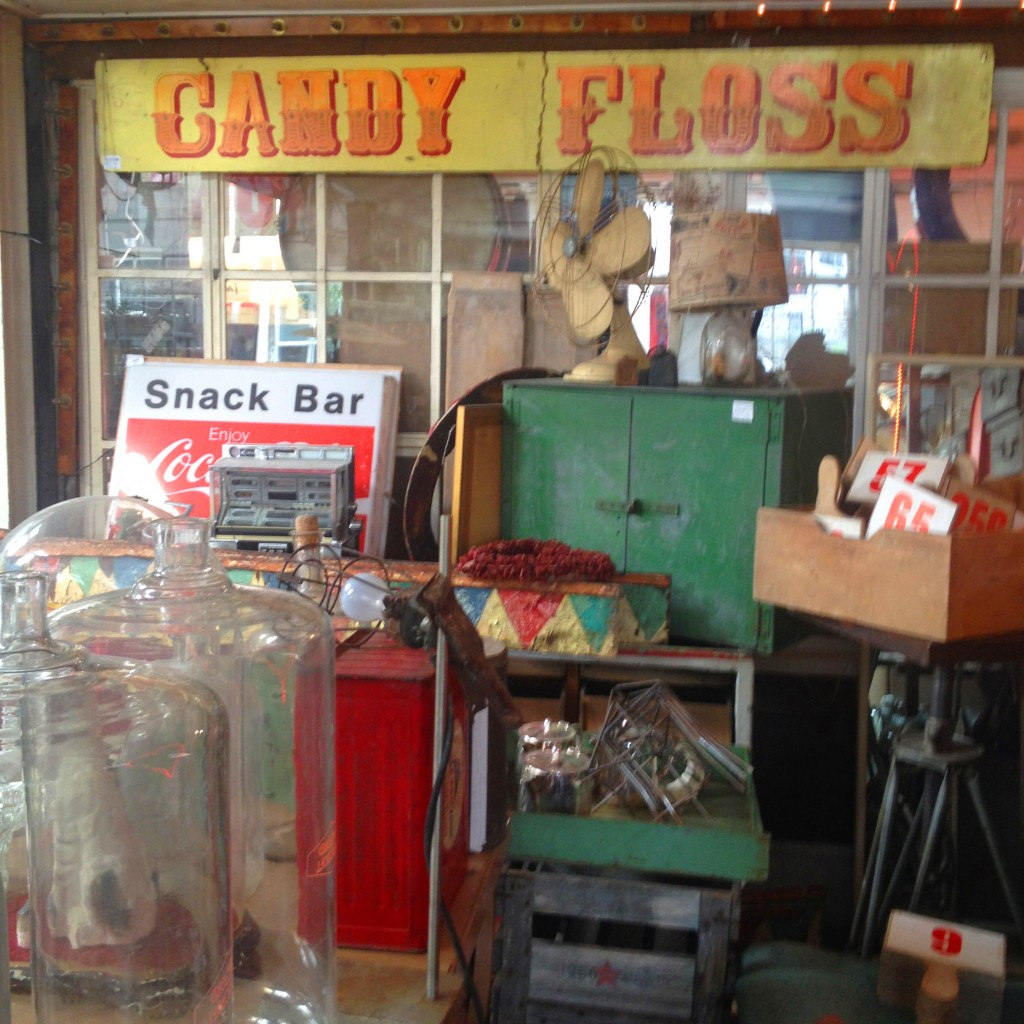 Candy Floss signage and various delightful oddments in Old Albion, Bridport