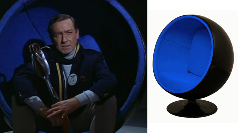 The ball chair in the 1960s TV series The Prisoner