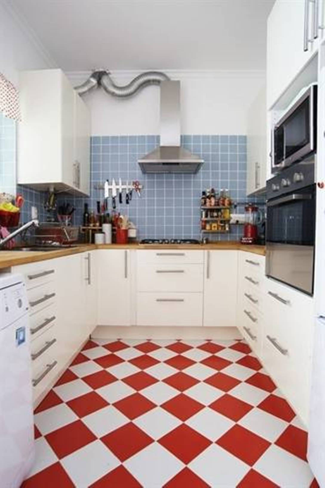 red white kitchen floor tiles film and furniture. Black Bedroom Furniture Sets. Home Design Ideas