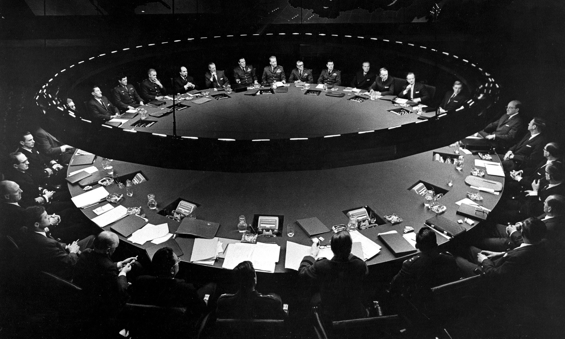 The War Room in Stanley Kubrick's Dr Strangelove. One of cinema's most influential film sets designed by Ken Adam