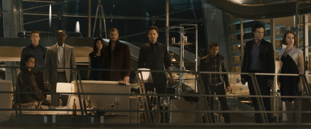 Avengers Age of Ultron group with lights furniture design classics in the movies
