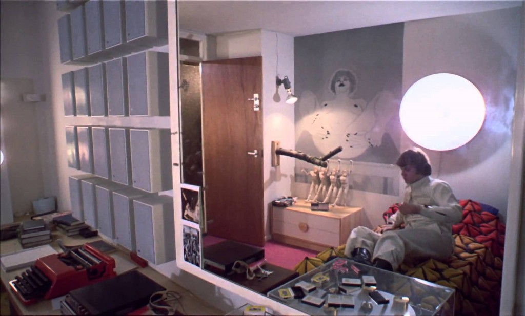 Alex's bedroom in A Clockwork Orange with typewriter seen on the left