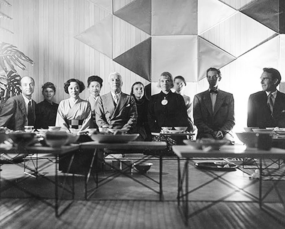 Photograph by Charles Eames hollywood connectionsfeaturing Isamu Noguchi, Shirley Yamaguchi, Charlie Chaplin, Charles Eames and others at a Japanese tea ceremony held at the Eames house.