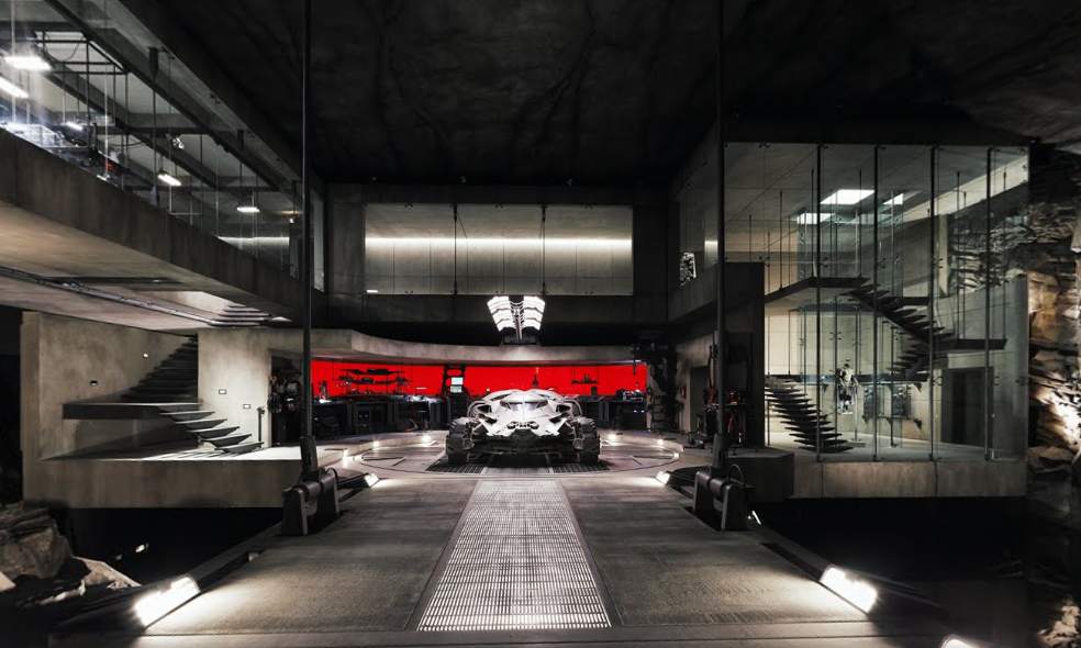 The Batmobile in the Batcave found via a dark corridor from the Bruce Wayne residence