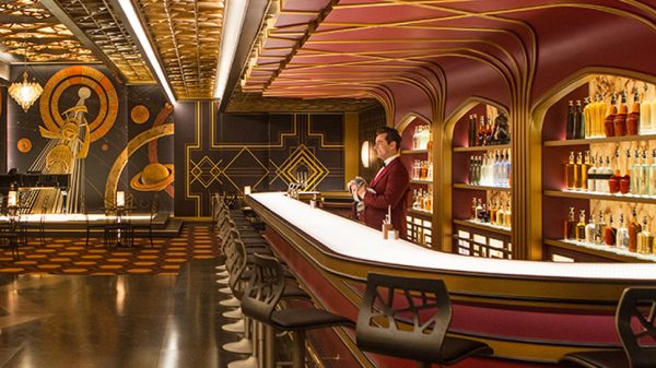 The Art-Deco-meets-Sci-Fi wall coverings in Passengers spaceship bar