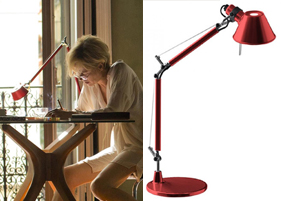 Artemide Tolomeo Red Desk Lamp