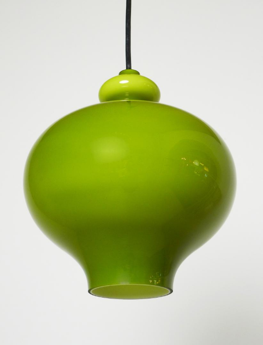 German Green Handblown Glass Pendant Lamp from Staff, 1960s from Pamono