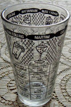 Vintage 1960s Cocktail Recipe Glass Tumbler Barware Mid Century Mad Men
