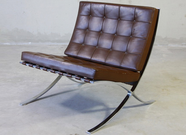Chocolate-brown-barcelona-chair-vintage