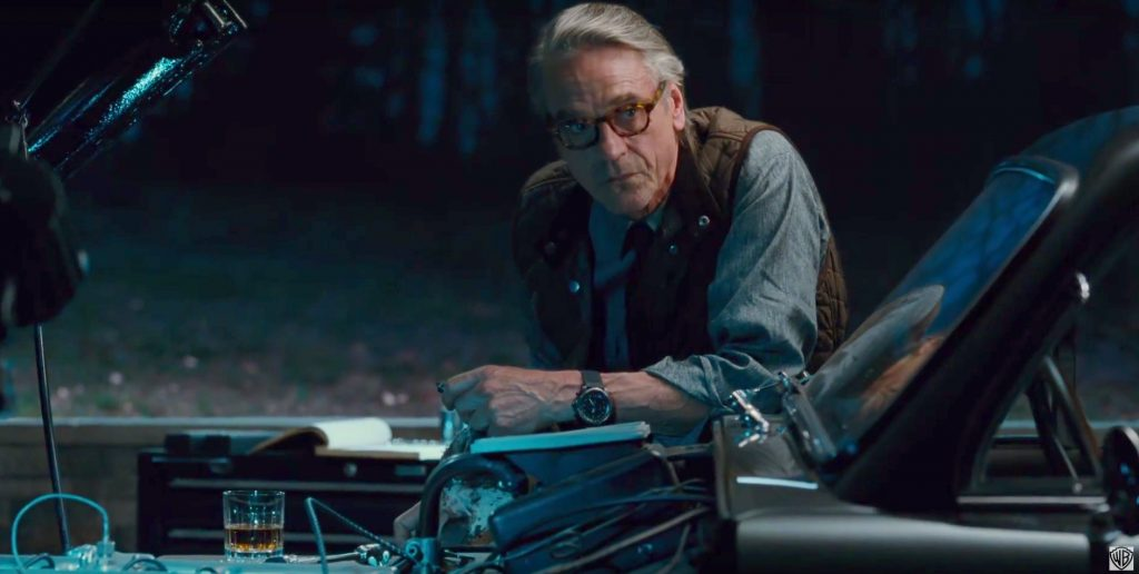 Alfred's desk in Justice League includes a Baccarat whisky glass