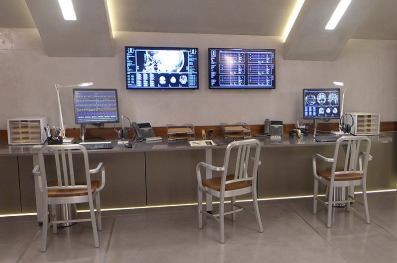 The Observation Room in Kingsman: The Golden Circle with Emeco Navy Chairs