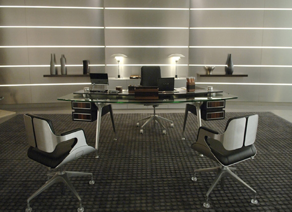 M's office in Quantum of Solace featuring Interstuhl Silver Chairs