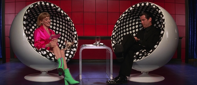 Ball chairs with dotty fabric in Mars Attacks!