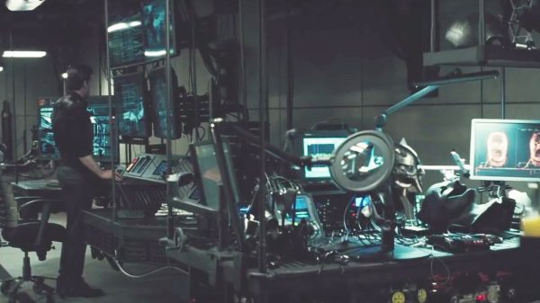 The Batman chair exclusive: The black 'spine' chair in Batman v Superman's Batcave