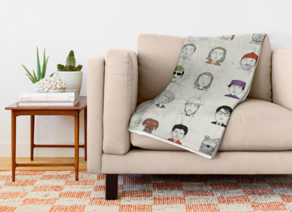 Wes Anderson characters throw blanket