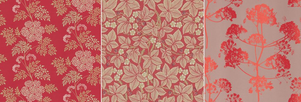 red wallpaper film sets