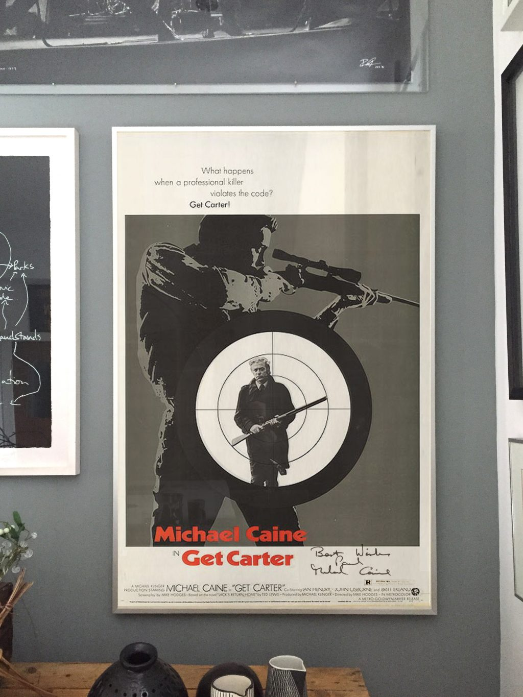 Get Carter original film poster signed by Michael Caine newcastle film festival