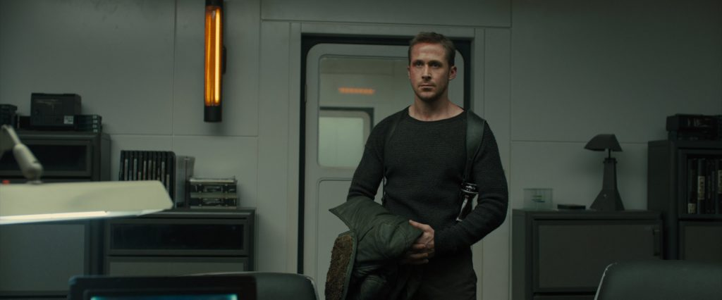 K in Joshi's NYPD office artefacts in Blade Runner 2049, with E63 metal table lamp see on the right