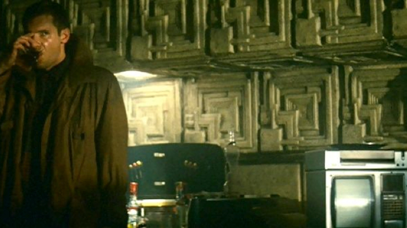 Deckard's apartment in Blade Runner featuring the Frank Lloyd Wright Ennis House tiles