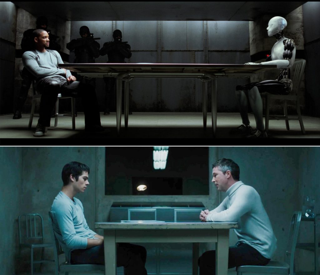 furniture design classics in the movies The Navy Chair as seen in interrogation scenes in I' Robot (top) and Maze Runner: The Scorch Trials (below).