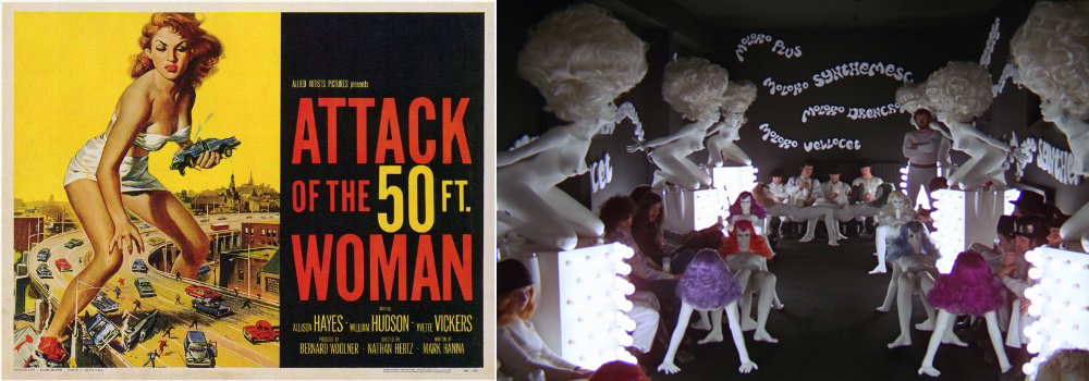 Gigantic woman in Attack of the 50ft Woman (1958) and A Clockwork Orange (1971)