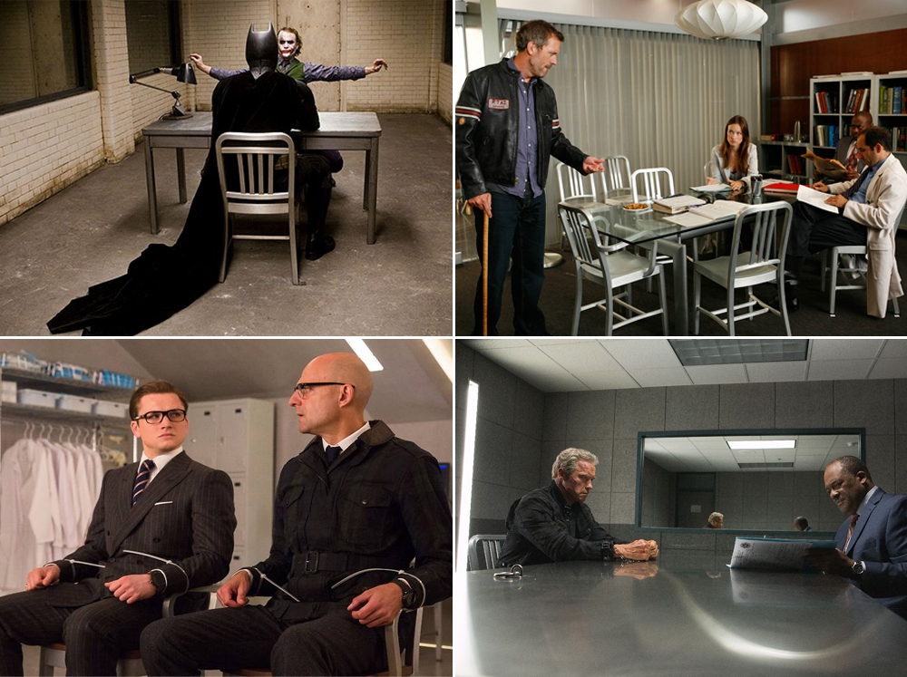 furniture design classics The Navy chair as seen in (Clockwise) The Dark Knight, House, Terminator Genisys, Kingsman: The Golden Circle
