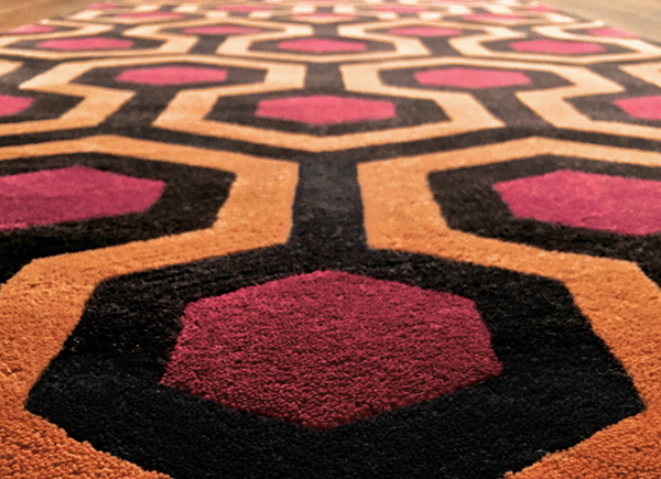 Hicks' Hexagon officially licensed luxury rug, designed by David Hicks, high quality 1 ply wool, as seen in The Shining Overlook Hotel