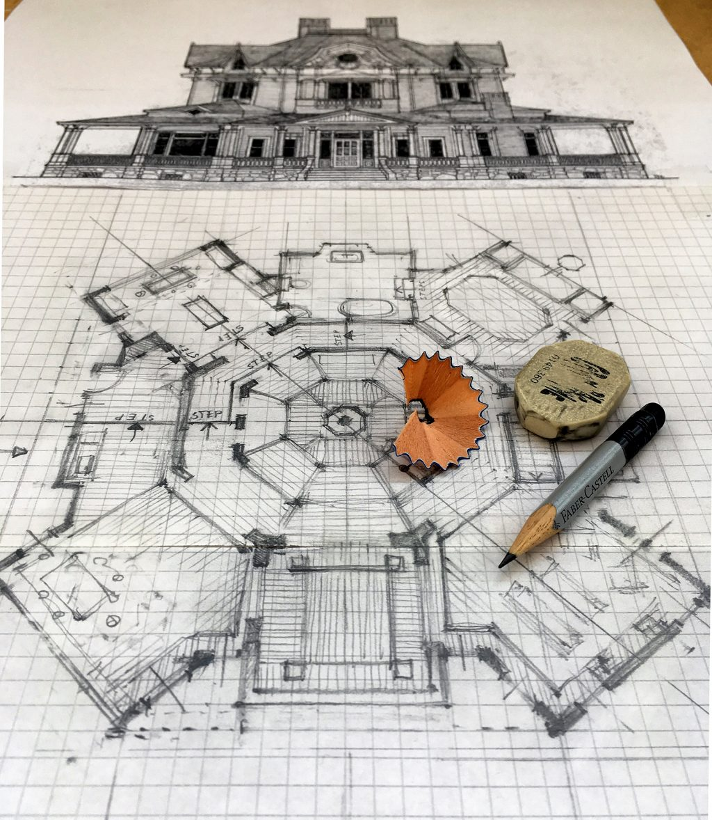The workings and sketches of the Mother! floor plan in progress