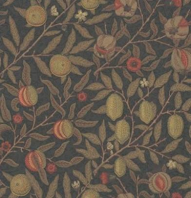 Fruit wallpaper by William Morris in Metallic/Multi: A contemporary reworking of this beautiful classic Morris design, with metallic ink effects. Available at £76 per roll from Wallpaper Direct