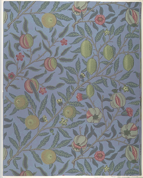 Sample of original printed William Morris Fruit wallpaper from the MET collection