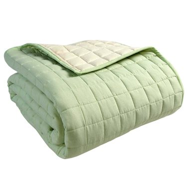 Homescapes 100% Cotton Reversible Twin Colour Quilted Bedspread Throw - green