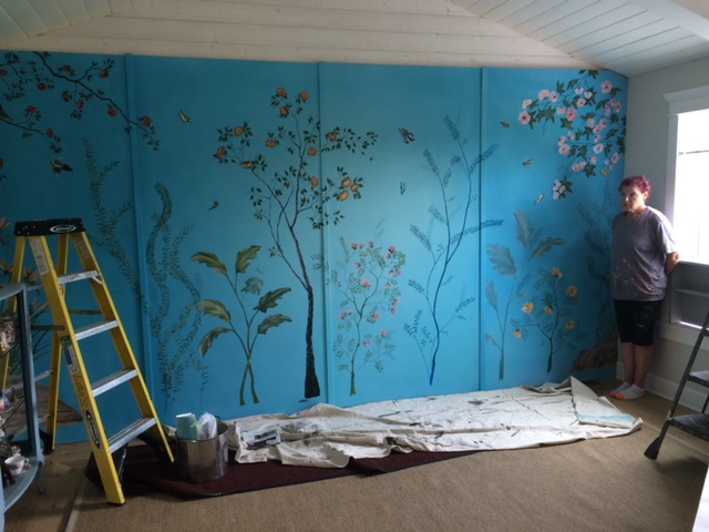 Lara Jean's mural being hand painted To All The Boys I've Loved Before film sets Photo c/o Production Designer Paul Joyal