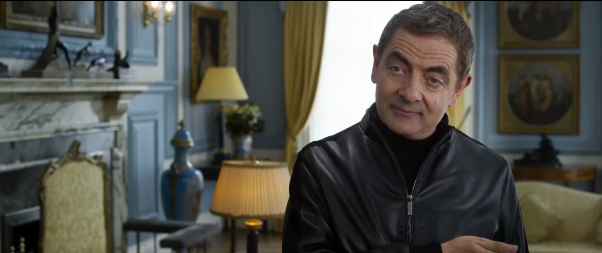 Rowan Atkinson as Johnny English in the 10 Downing Street film set of Johnny English Strikes Again. Production Design by Simon Bowles, Set Decoration by Liz Griffiths. Photo c/o Universal Pictures.