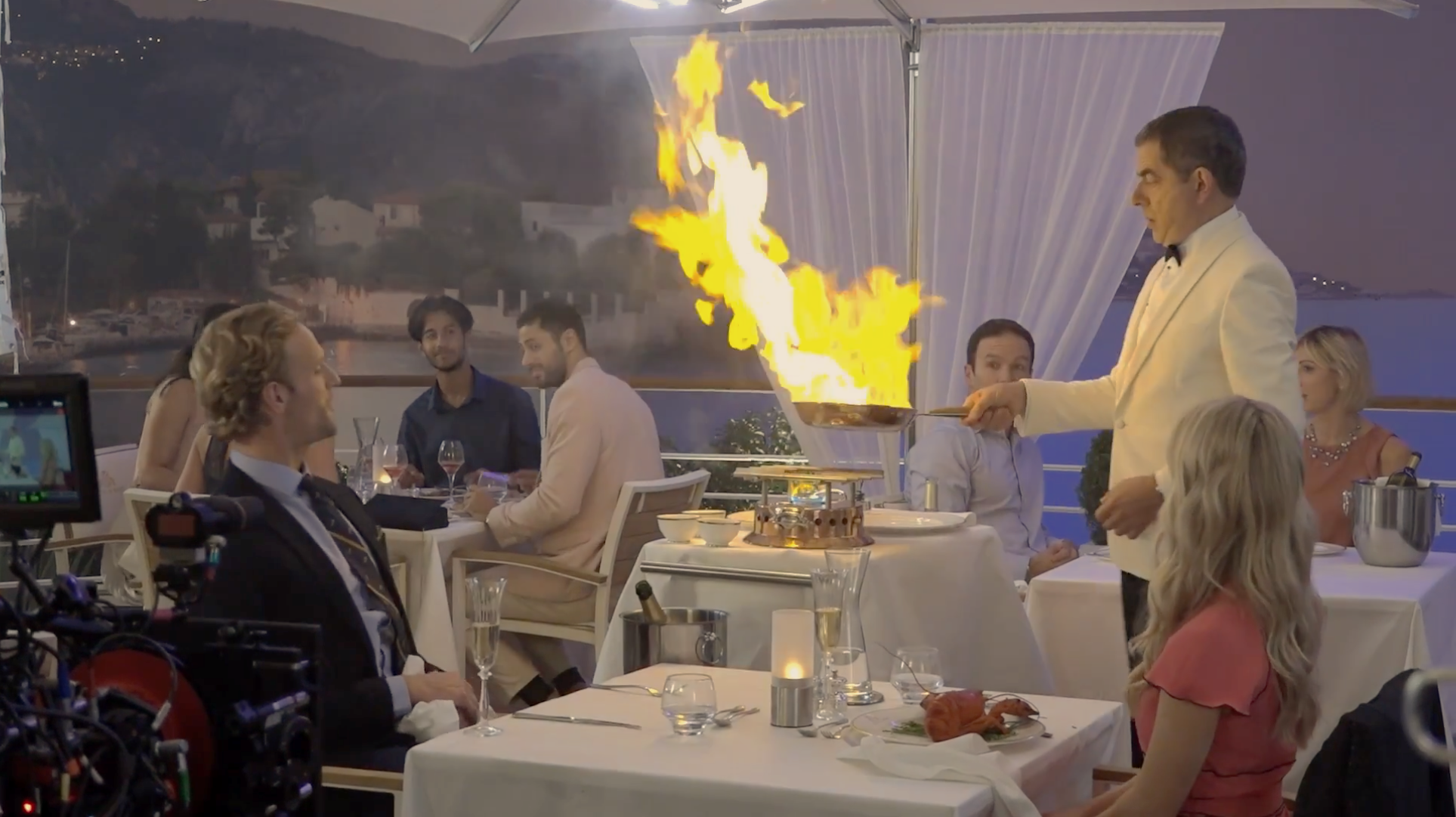 Johnny English Strikes Again. French Hotel Restaurant film set which Johnny sets fire to