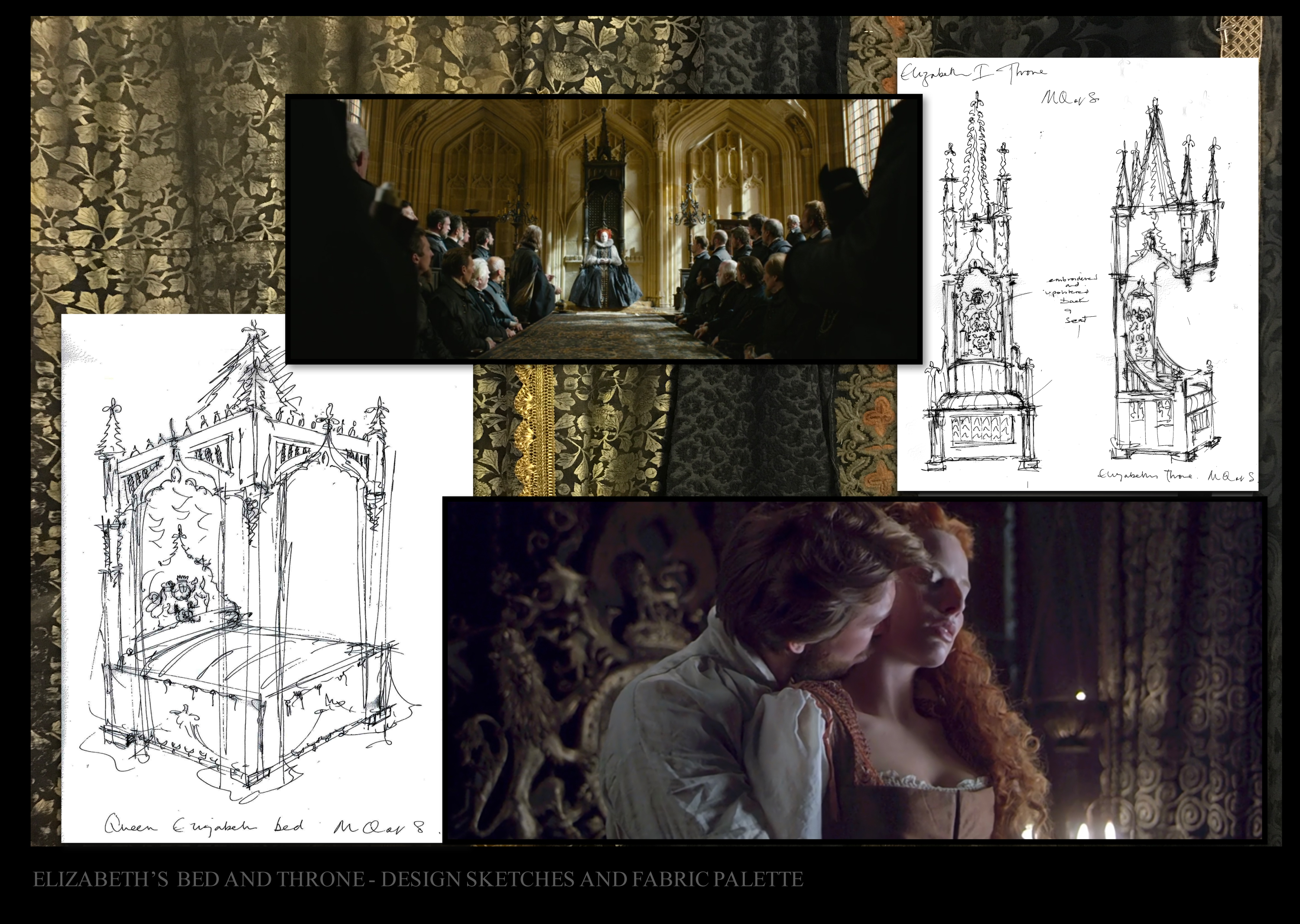 Design sketches for Elizabeth's bed and throne mary queen of scots film set