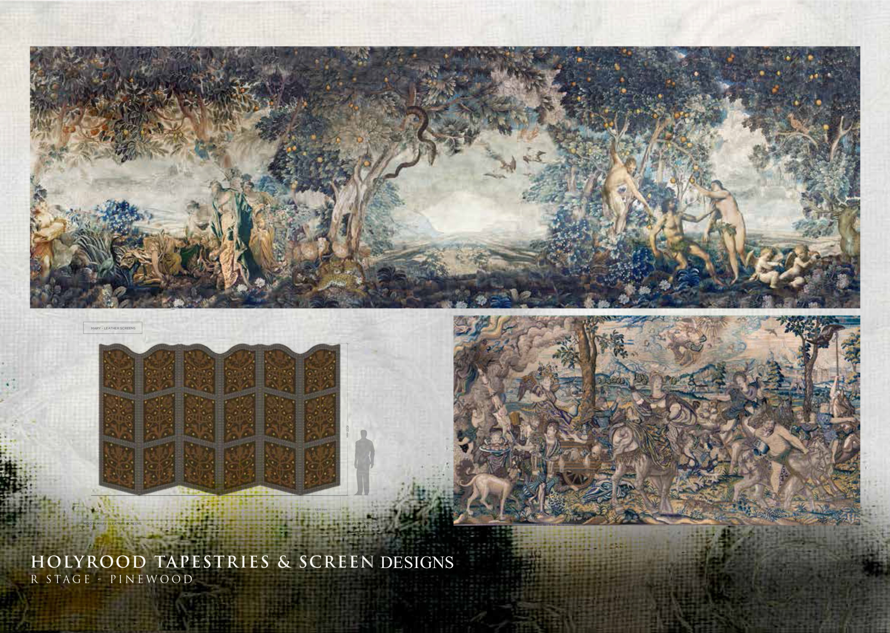 Original designs for the tapestries and screens at Holyrood Mary Queen of Scots film set