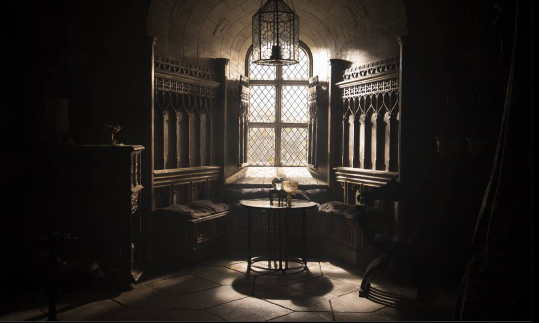 Interior of Elizabeth's bed chamber mary queen of scots film set