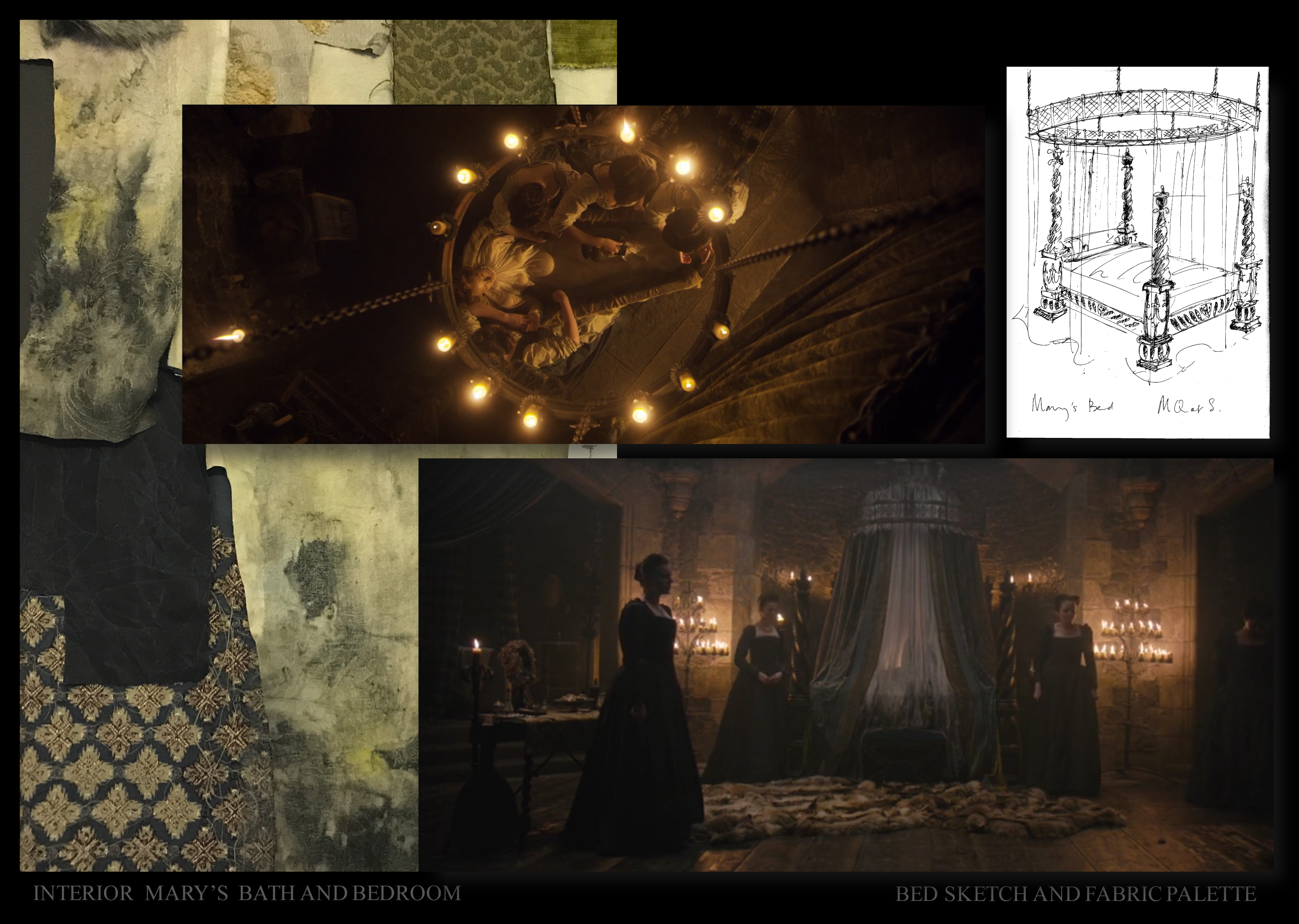 Mary's bedroom, bed and bath designs mary queen of scots film set