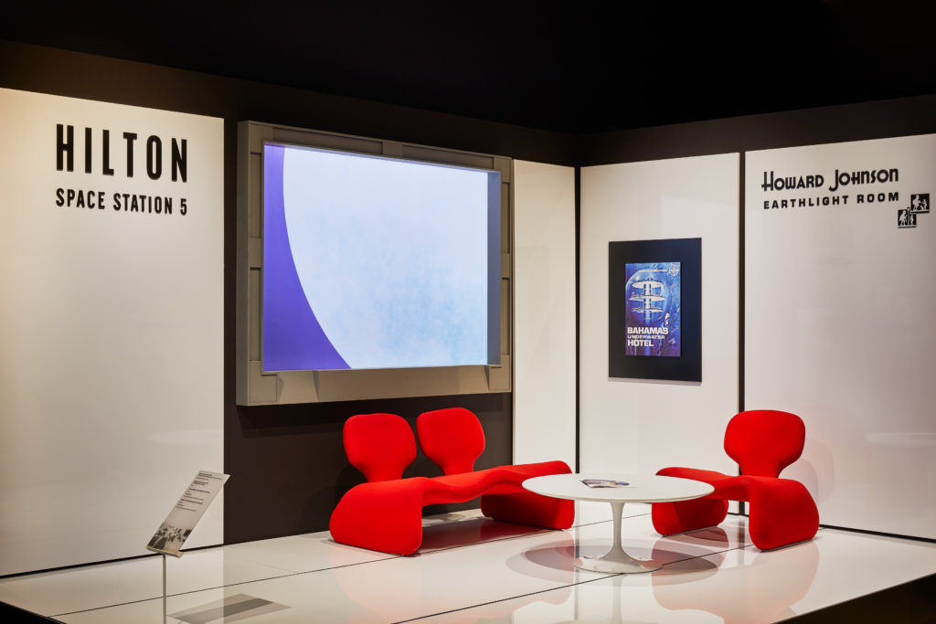 Space Station 5 installation from 2001: A Space Odyssey featuring Djinn chairs and sofas. Photo: Ed Reeve for The Design Museum