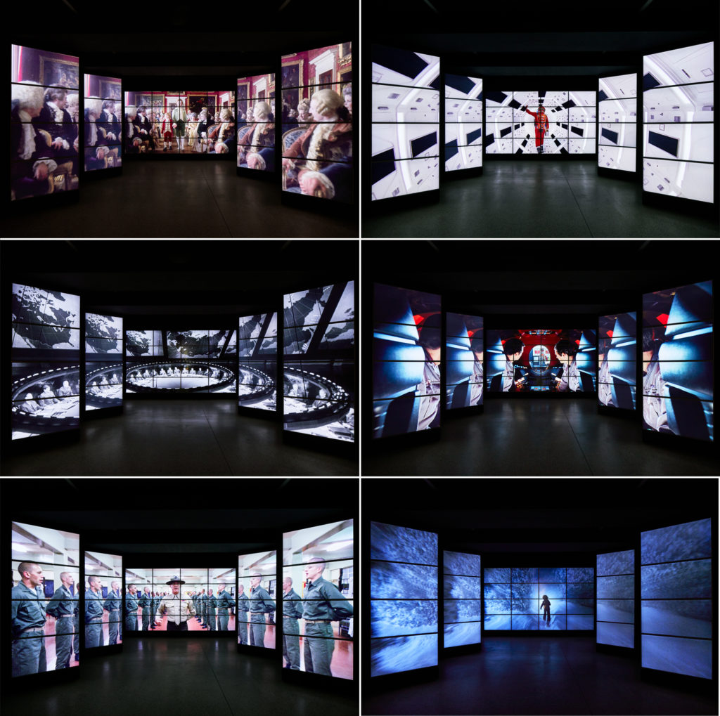"The ""one point perspective"" corridor of screens at The Design Museum's Stanley Kubrick: The Exhibition. Photo: Ed Reeve for The Design Museum"
