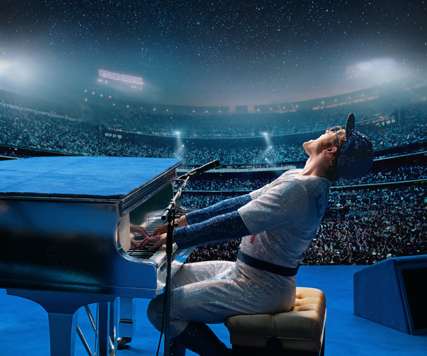 Taron Egerton as Elton John performing in The Dodgers Stadium in Rocketman. Photo c/o Paramount Pictures.