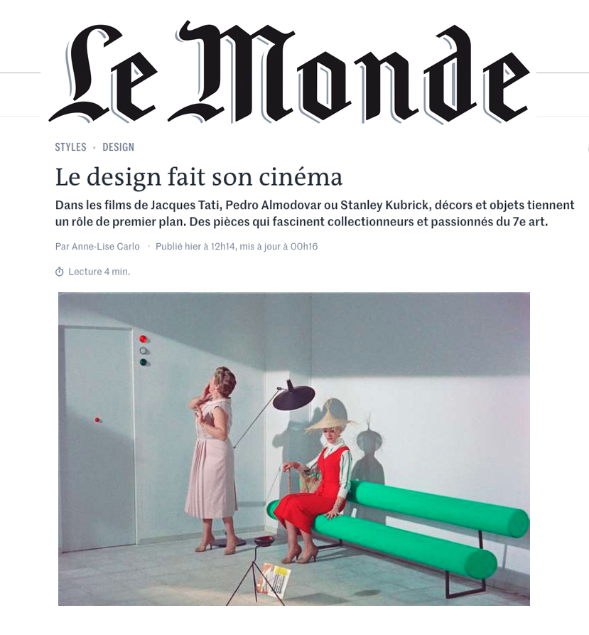 Le Monde article on Film and Furniture