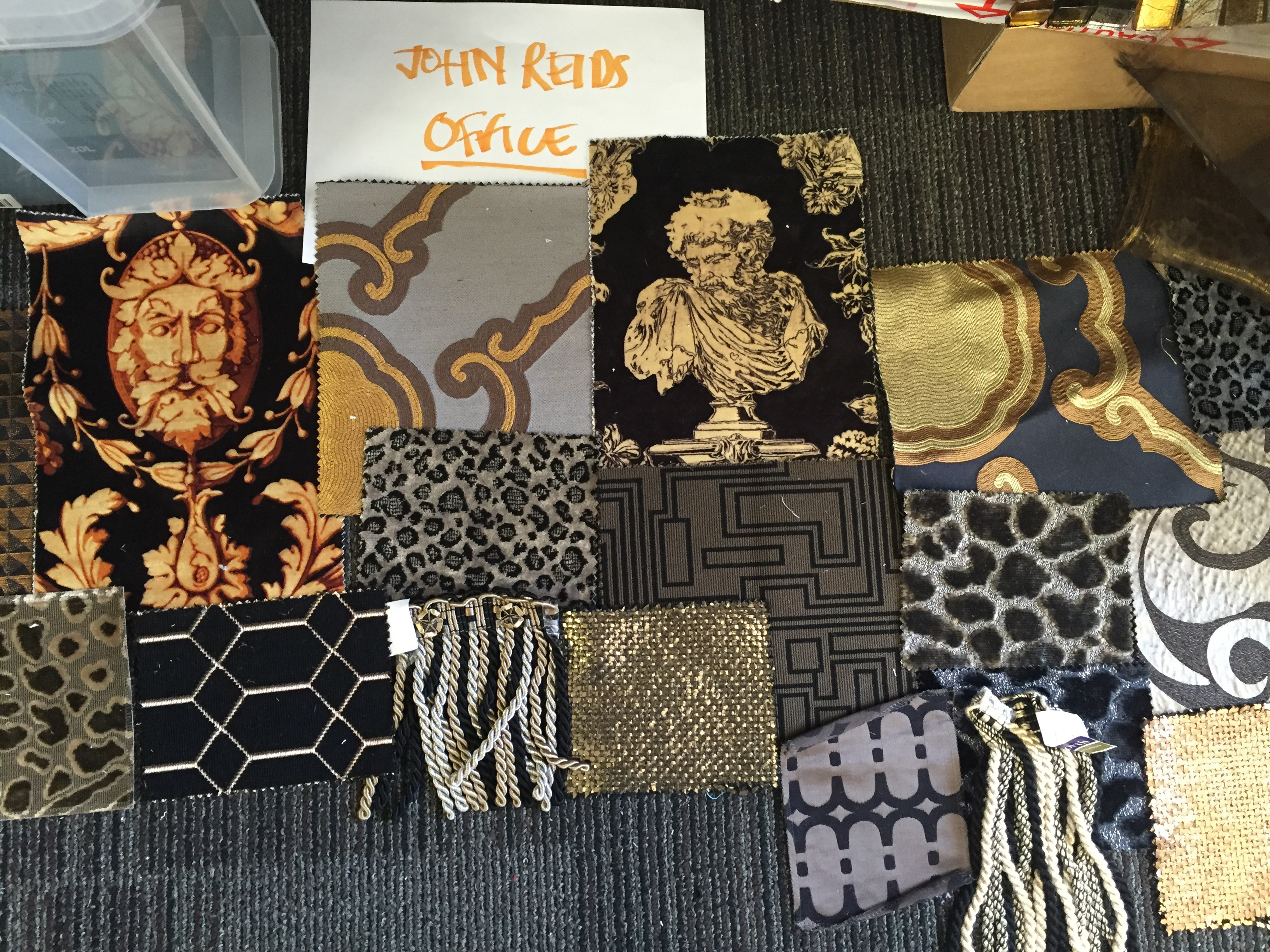 Mood board and samples for John Reid's office in Rocketman filmsets
