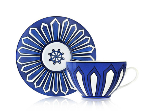 Hermes Bleus d'Ailleurs Tea Cup and Saucer. Available via our store