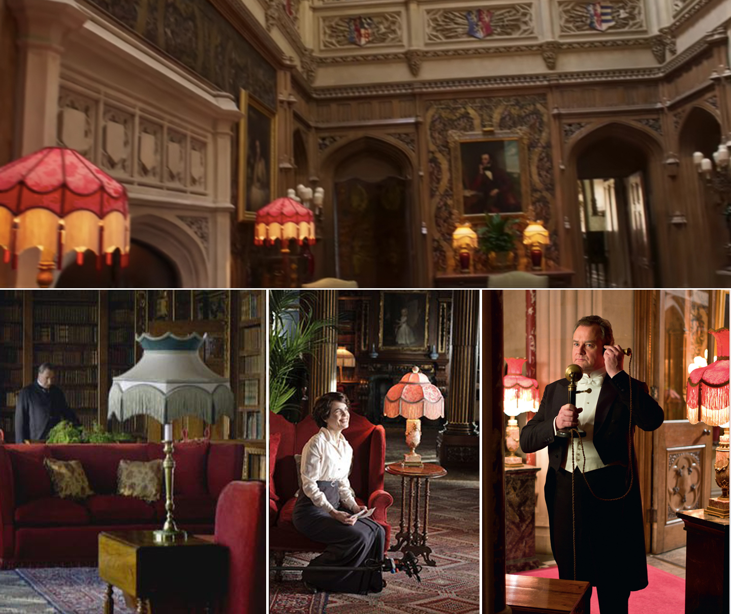 A selection of fringed lamps seen in Downton Abbey interiors