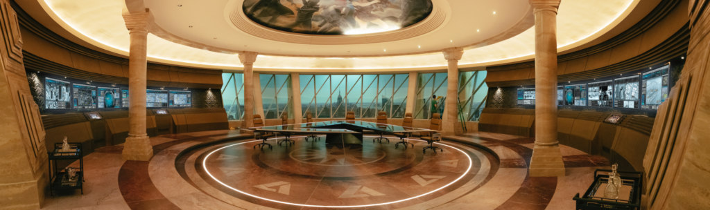 Vought Boardroom in The Boys, designed by Production Designer David Blass
