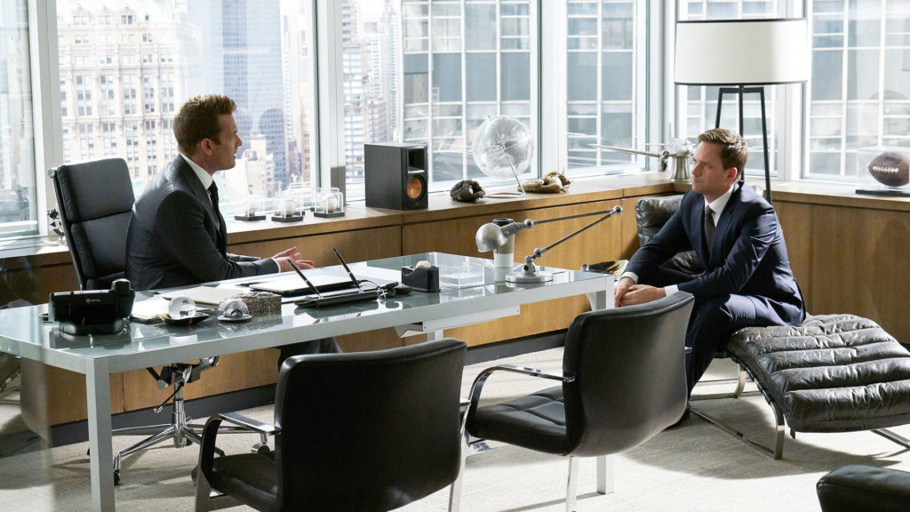 SUITS film set design furniture harvey specter office Suits furniture and props