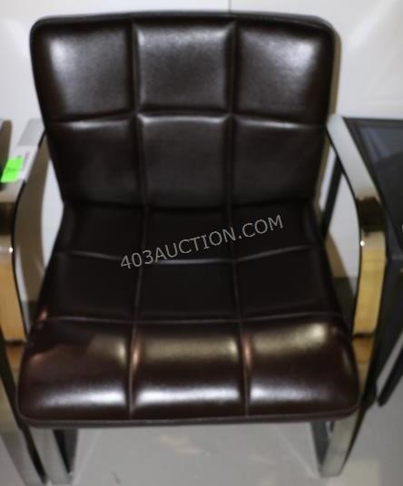 Harvey Specter's black leather and chrome office guest chairs Suits furniture and props