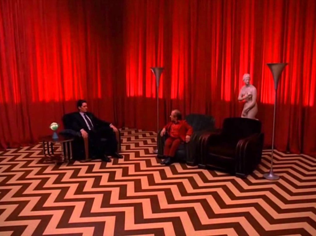 The Red Room in Twin Peaks with zig zag flooring
