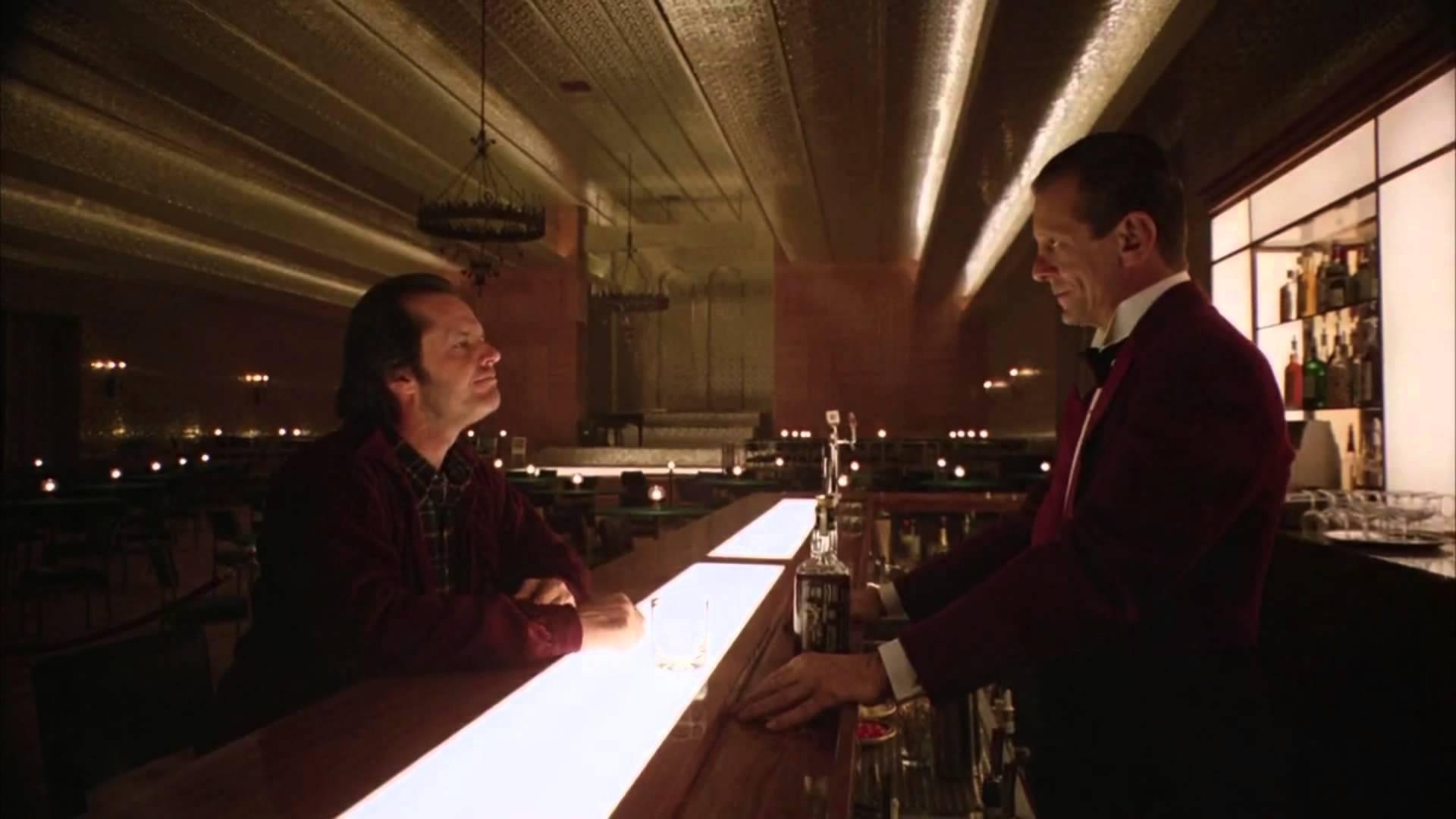 The Overlook Hotel bar scene in The Shining